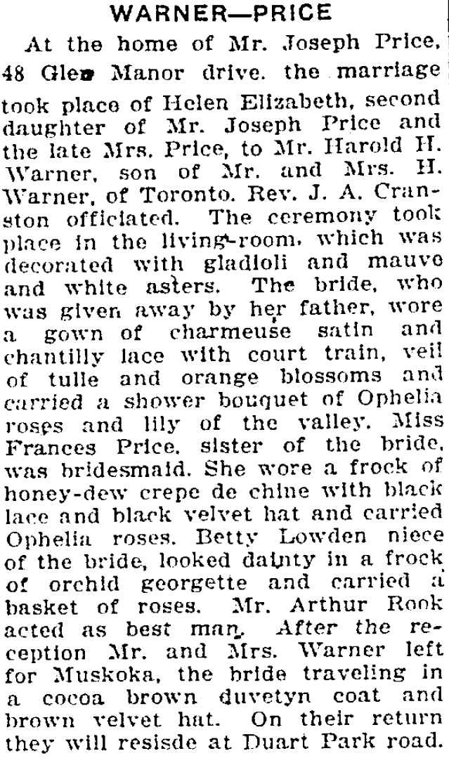 Toronto Star article about the wedding of Helen Price and Harley Warner