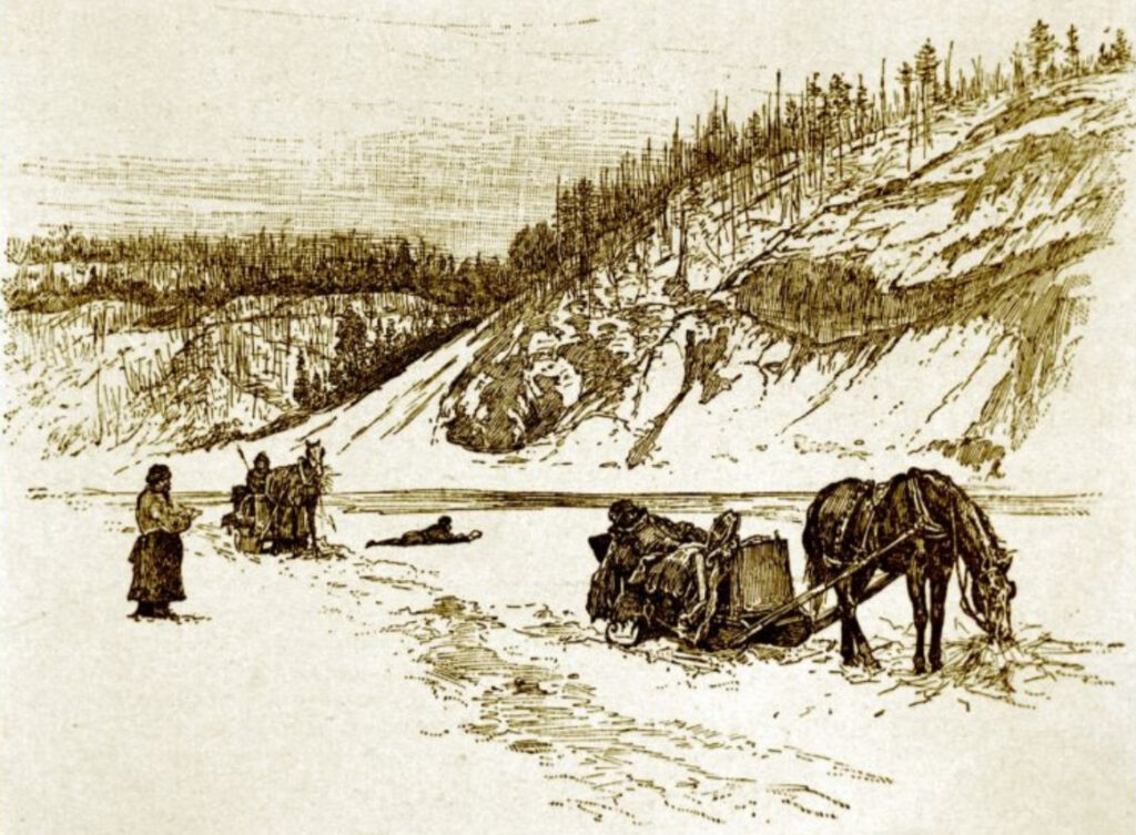 Sleigh on Frozen River
