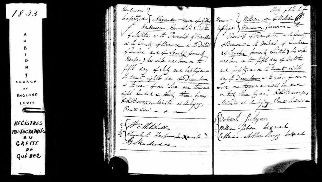 Baptismal record William Warner 1833